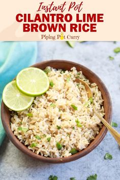 Pot Cilantro Lime Brown Rice - Instant Pot Cilantro Lime Brown Rice is easy and tastes just like Chipotle's. The fresh cilantro -Instant Pot Cilantro Lime Brown Rice - Instant Pot Cilantro Lime Brown Rice is easy and tastes. Healthy Rice Recipes, Lentil Recipes, Curry Recipes, Vegetarian Recipes, Chipotle Rice Recipes, Ricearoni Recipes, Veggie Recipes, Vegan Vegetarian, Rice