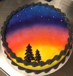 Airbrushed sunset DQ ice cream cake