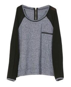 Color Block Zipper Back Cotton T-shirt