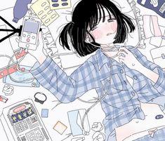 Pretty Anime Girl, Beautiful Anime Girl, Anime Art Girl, Pretty Art, Cute Art, Aesthetic Art, Aesthetic Anime, Dibujos Cute, Sad Art