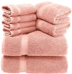White Classic Luxury Pink Bath Towel Set - Combed Cotton Hotel Quality Absorbent 8 Piece Towels   2 Bath Towels   2 Hand Towels   4 Washcloths [Worth $72.95] 8 Pack   Pink