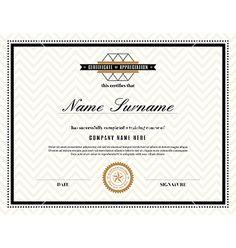 Vector art certificate design template work inspiration retro frame certificate design template vector by kraphix on vectorstock yadclub Gallery