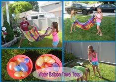 Water Balloon Towel Toss- need to do this, incorporates so many things:motor planning, eye hand coordination, bilateral, team work.. could also do this with bean bags