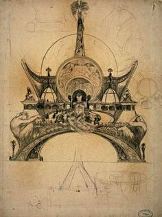 Alphonse Mucha's proposal for the Eiffel Tower in Paris