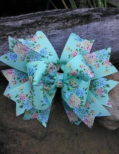 Green Floral Boutique Bow Mint Green Hair Bow Mint by Downmyholler