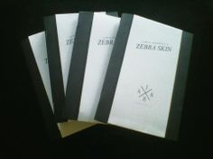 JAMES ROY BLAIR ANDERSON final designs for the JRBA Publishing self-published book ZEBRA SKIN. All copies are hand-made by the author and are individually signed. Every cover is different for each book but all contain the title band that vertically wraps the cover. This cover was designed around the title and features bold monochrome tones reflected in the ZEBRA SKIN title.  http://www.facebook.com/JamesRoyBlairAnderson http://jamesroyblairanderson.wordpress.com @JamesRoyBlairA