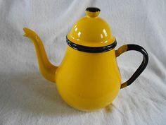 Vintage Yellow Enamelware Enamel Coffee Pot or Teapot Tea Pot Made in Japan | eBay