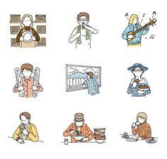 Editorial illustrations by Japanese illustrator Kaido Kenta Art And Illustration, People Illustration, Character Illustration, Graphic Design Illustration, Illustrations Posters, Japanese Drawings, My Drawings, Composition Art, Graphic Design Inspiration