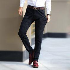 Party Business Plaid Dress Pants Men Slim Fit Fashion Sanding Long Trousers FT