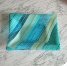 Fused glass dish Home & Living Aqua turquoise by Glasspainter1, $85.00