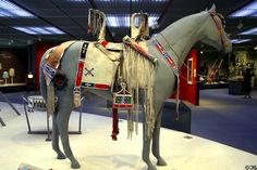 Crow decorated horse saddle, blanket & cases (1890s) at Denver Art Museum. Denver, CO.