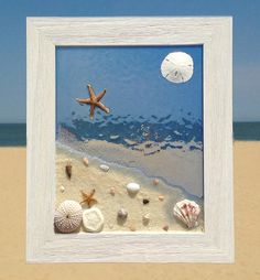 Unique beach window art by Luminosities! Lovely ocean scene with sand, shells and a blue stained water background. Set in a wood frame. Measurements are 10.5x12.5