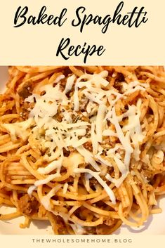 Baked Spaghetti Recipe The Wholesome Home Fresh Spaghetti Recipe, Easy Baked Spaghetti, Best Spaghetti, Spaghetti Recipes, Quick Ground Turkey Recipes, Ground Turkey Spaghetti, Spaghetti Casserole, Home Recipes, Drink Recipes