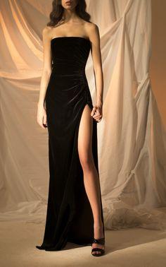 Black Strapless Slit Dress by RASARIO for Preorder on Moda Operandi