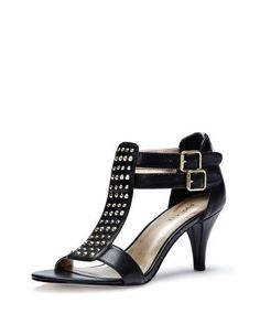 Mid-heel sandal with studs