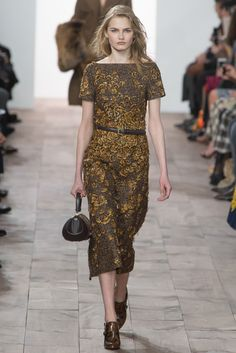 Very cool -- these feathers fashioned into floral embroidery embellishing a smart tweed silhouette. Michael Kors - Fall 2015 Ready-to-Wear