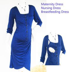 Maternity Dresses / Nursing Dress / Breastfeeding Dress / BLUE Dress / KELLY/ Nursing Clothes / Pregnancy Dress, Maternity FREE Shipping