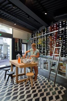 Cheese and wine shop interior design by Vincent Coste Design Studio - Aix en Provence, France Wine Shop Interior, Retail Interior Design, Cafe Interior, Interior Design Studio, Concept Restaurant, Cafe Restaurant, Deco Pizzeria, Decoration Restaurant, Cheese Store