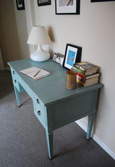 Mid Century Rway Vanity Desk with Mirror by vintagebitsandpieces, $595.00