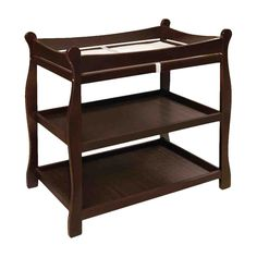<li>Badger Basket sleigh-style changing table has traditional, enduring style</li><li>Baby furniture has 2 shelves and ample room for changing diapers or dressing baby</li><li>Changing table is made of quality hardwood with non-toxic espresso finish</li> Changing Table Topper, Changing Table Dresser, Baby Changing Table, Changing Pad, Changing Station, Nursery Furniture, Kids Furniture, Shelf Furniture, Espresso