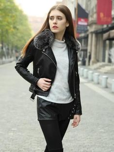 c6c4c7889ce7b4 Winter Long Sleeve Fur Collar with Zipper Women's Jacket Tops