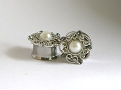 Pearl and Crystal Wedding Flower Plugs 9/16 5/8 by arksendeavors, $40.00