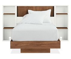 Room & Board - Mason Full Bed w/Sliding-Door Storage Headboard and Two Bookcase/Nightstands