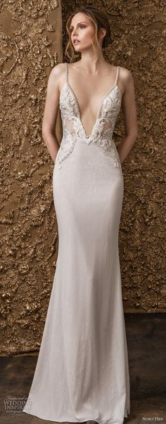 nurit hen 2018 bridal sleeveless thin strap deep v neck heavily embellished bodice romantic a line wedding dress open back sweep train (11) mv -- Nurit Hen 2018 Wedding Dresses