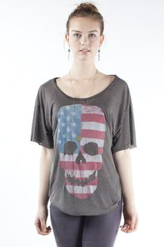 Angie American flag skull top
