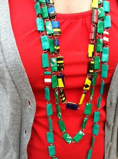 I saw a paperclip necklace at Goodwill...pretty cool. I need to make one with my scrap scraps. http://dollarstorecrafts.com/wp-content/uploads/2012/03/paperclip-necklace1.jpg