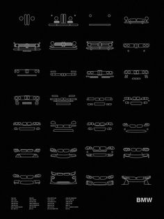 "Models shown: 1936 328 / 1952 501 / 1955 ISETTA 250 / 1955 ISETTA 250 / 1956 507 ROADSTER / 1962 1500 / 1965 3200CS / 1968 2002 tii / 1973 3.0CSL E9 / 1975 316 E21 / 1978 M1 E26 / 1979 M535i E12 / 1986 M3 E30 / 1988 BMW M5 E28 / 1989 8 SERIES E31 / 1992 M3 E36 / 1996 Z3 E36 / 1998 M5 E39 / 1999 Z8 ROADSTER / 2000 M3 E46 / 2002 Z4 / 2004 6 SERIES E63/64 / 2007 M3 E90 / 2007 X5 E70 / 2011 1 SERIES M COUPE / 2011 M5 F10 / 2014 i3 / 2014 M4 COUPE F82 / 2014 i8 Size: 18"" x 24""Ink: WhitePaper…"