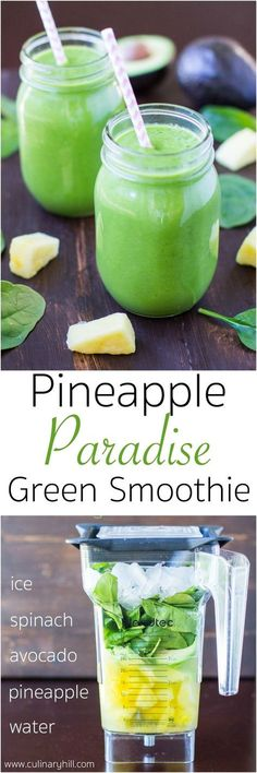 A sweet and fruity green smoothie filled with golden pineapple, smooth avocado, and fresh spinach. An easy way to pack more fruits and veggies into your diet every day! #spinach #pineapple #smoothie