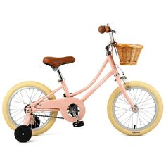 """""""Mini"""" doesn't mean short on features, this dreamy lil' single-speed 16"""" bike comes with a handbuilt high-tensile steel easy-to-mount frame and lightweight aluminum wheels. Shop Now! Bike With Training Wheels, Balance Bike, Kids Bike, Aluminum Wheels, Get Outside, Shop Signs, Color, Design, Basket"""