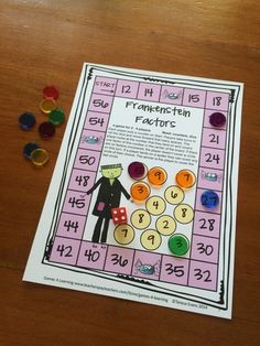 Factors board game for 4th grade from Halloween Math Games Fourth Grade by Games 4 Learning $