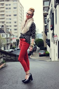 red pants black and white shirt