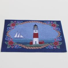 Miniature Lighthouse Rug for Dollhouse or Roombox by GreenGypsies