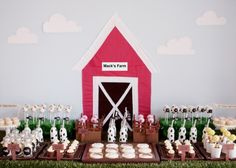 Cupcakes Take The Cake: Super cute pig and sheep cake pops from a farm yard birthday party at Pizzazzerie