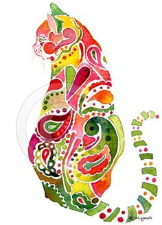 Cat Pink and Green, by Jo Lynch -- see more here: http://fineartamerica.com/profiles/jo-lynch.html or here: http://www.cafepress.com/whimzicals/2630850