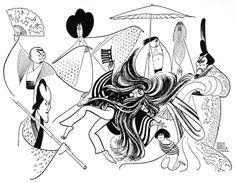 """Al Hirschfeld ~ Isao Sato, Mako, Soon-Teck Oh, Conrad Yama, Freddy Mao, Yuki Shimoda, Sab Shimono, and Haruki Fujimoto in """"Pacific Overtures"""""""