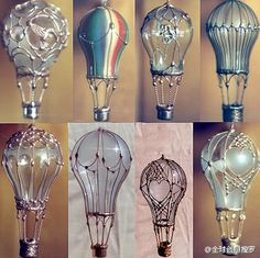 Light bulbs turned hot air balloons