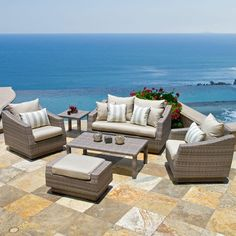 RST Outdoor Cannes 6-Piece Patio Seating Set with Slate Grey Cushions-OP-PEOSS6-CNS-SLT-K at The Home Depot