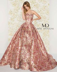 Metallic floral print ball gown, with strapless sweetheart neckline, and pleated skirt