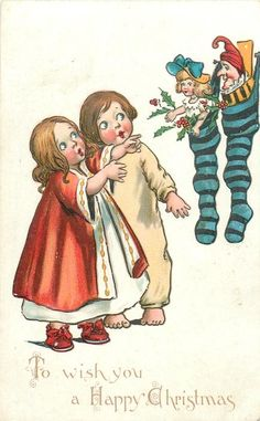 TO WISH YOU A HAPPY CHRISTMAS  two children look up at stuffed Xmas stockings