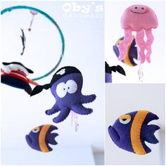 Felt Pirates mobile Nursery mobile Pirate Octopus by Obyshandmade