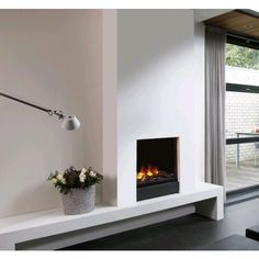 GALA - Closed electric hearth / / steel by Faber Fireplace Mirror, Fireplace Design, Living Room Inspiration, Interior Inspiration, Minimalist Fireplace, Interior Styling, Interior Design, Contemporary Bedroom, Home Bedroom