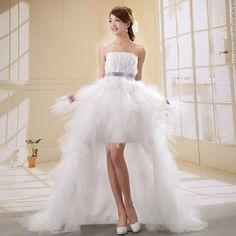 tube top sexy wedding dress train feather wedding dress formal skirt low-high fashionable bride costume