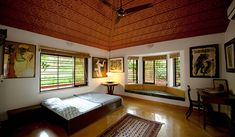 Guestroom 1 - a rural retreat, gholvad - dahanu, thane home Indian Home Interior, Indian Home Decor, Home Interior Design, Kerala Traditional House, Traditional House Plans, Farmhouse Interior, Farmhouse Ideas, Farmhouse Windows, French Farmhouse
