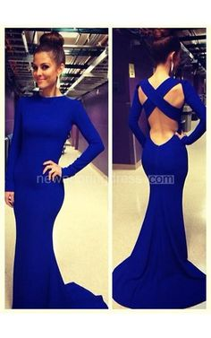 Sexy De Soiree Robe Mermaid Evening Dress 2016 High Neck Criss Cross Backless Royal Blue Prom Dresses With Long Sleeve - Newadoring Dress