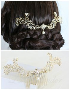 Wedding Headpiece Matt Gold Feather Back Comb Bridal Hair Accessory with Swarovski Crystal & Pearl KAREN