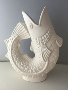 Ceramic Bisque- ready to paint Fish Vase Ceramic Bisque, Porcelain Clay, Cold Porcelain, Slab Pottery, Pottery Vase, Ceramic Fish, Ceramic Art, Slab Ceramics, Fish Sculpture